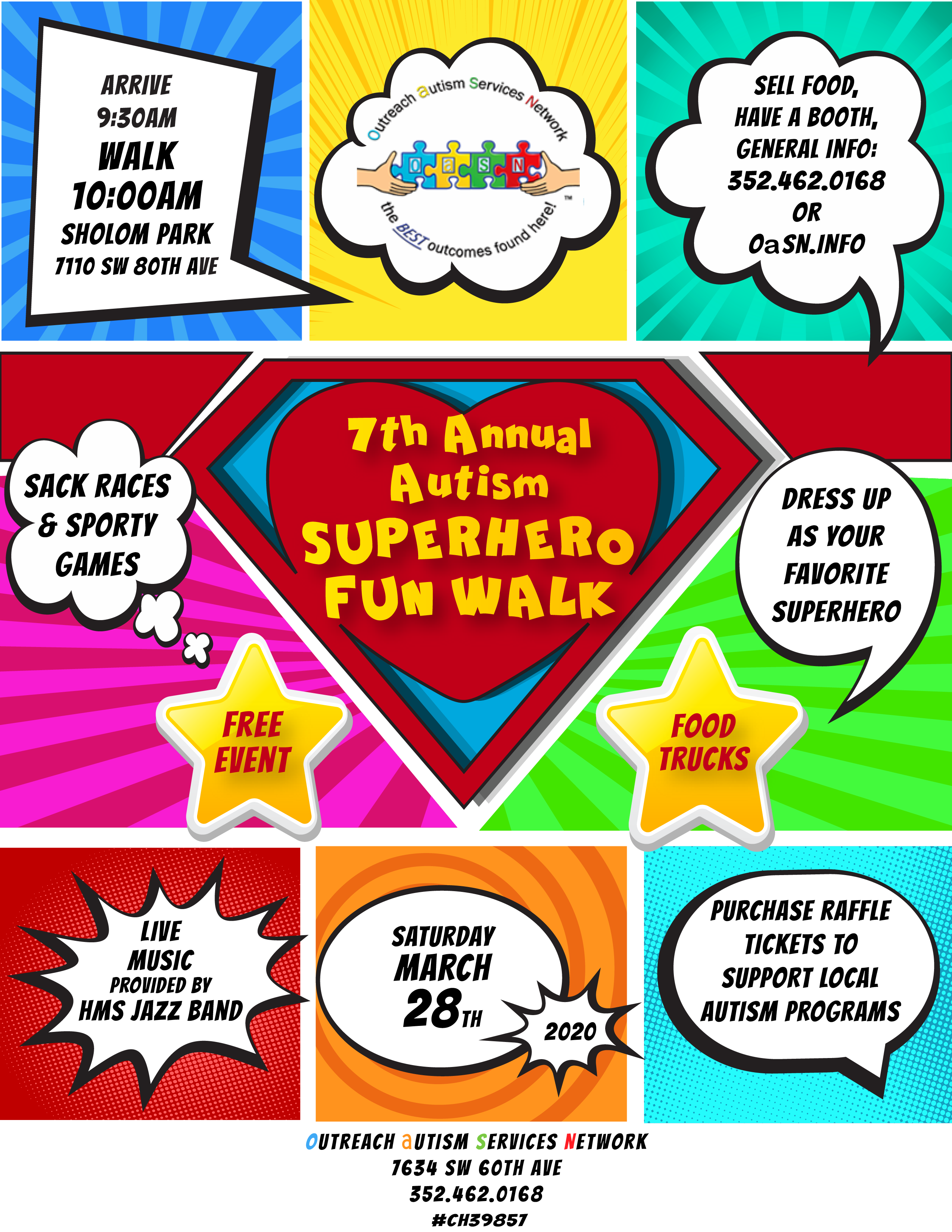 autism walk 2020 flyer with logos